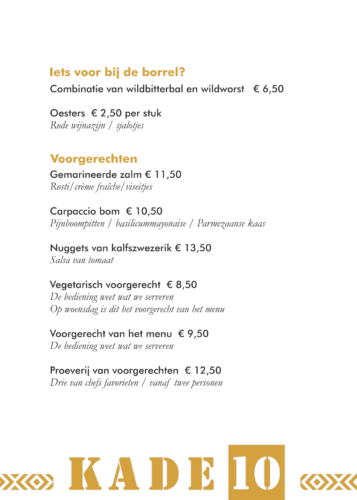 menukaart Kade 10