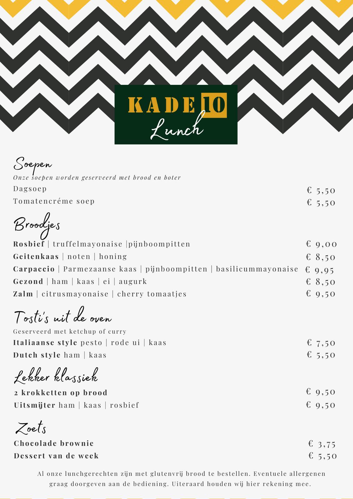 Lunchkaart Kade 10 Nijkerk