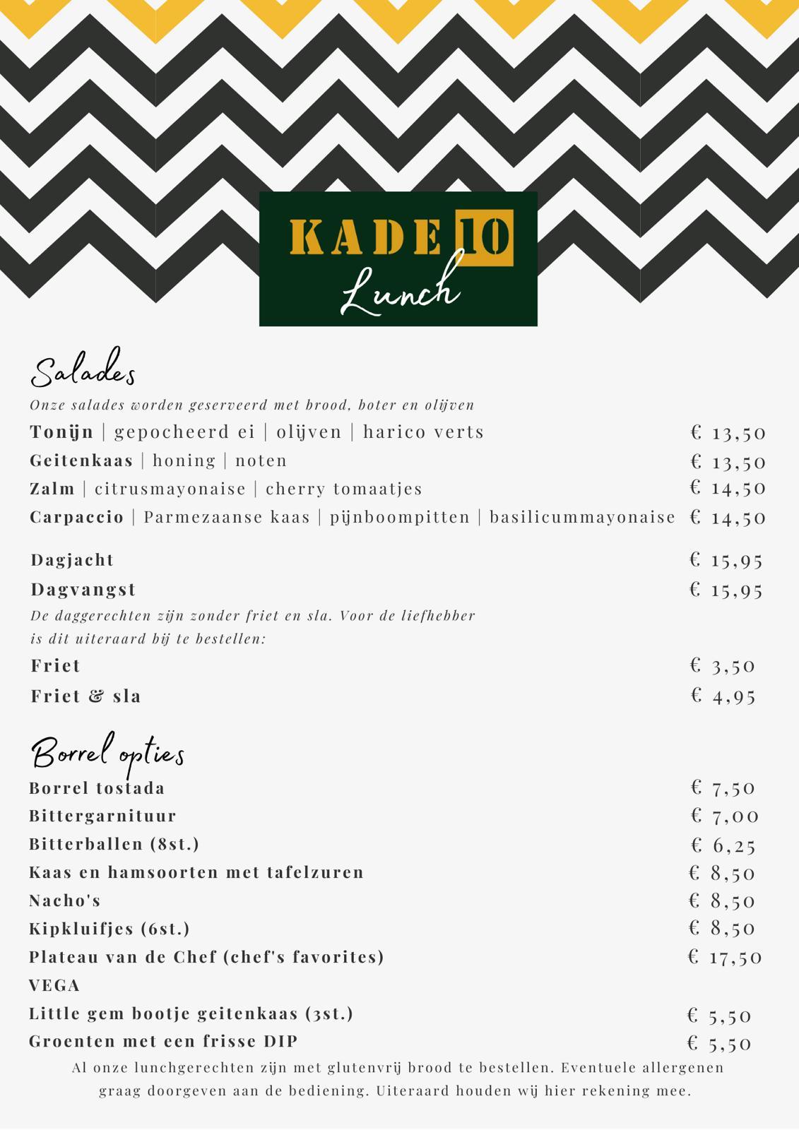 Lunchkaart voorjaar Kade 10